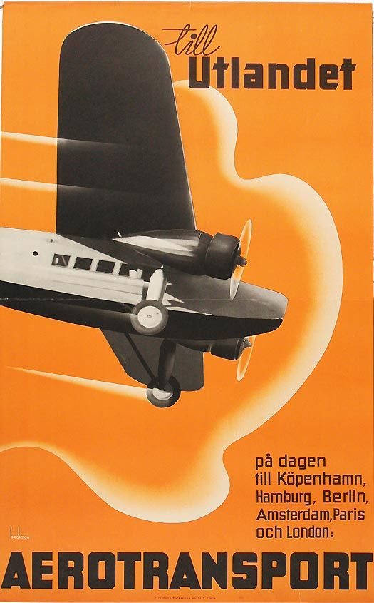 AB Aerotransport (ABA), a Swedish airline - posted designed by Anders Beckman 1930