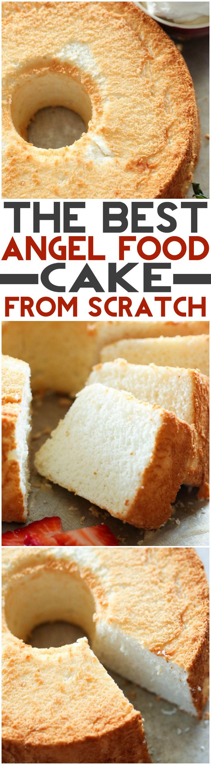 THE BEST Angel Food Cake from scratch! This cake has the most perfect texture…