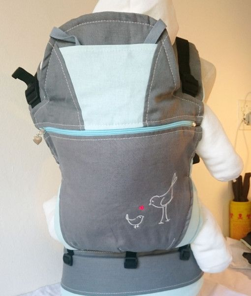 Dove Grey and turquoise baby carrier