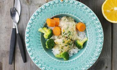 Vintrig kycklinggryta med apelsin och ris