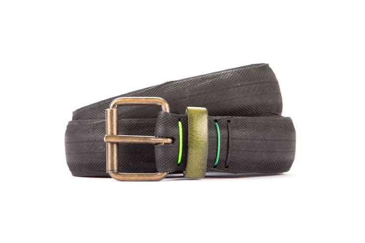 #2944 - Black belt from a spare race bicycle tyre, entirely handcrafted, iron branded and numbered. Dark green, leather belt loop. Strap folded up and stitched up with cotton colored strings.