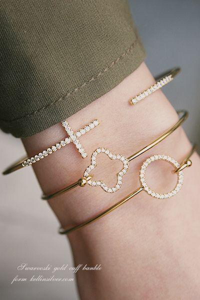 Swarovski Gold Four Leaf Clover Bangle Bracelet from kellinsilver.com