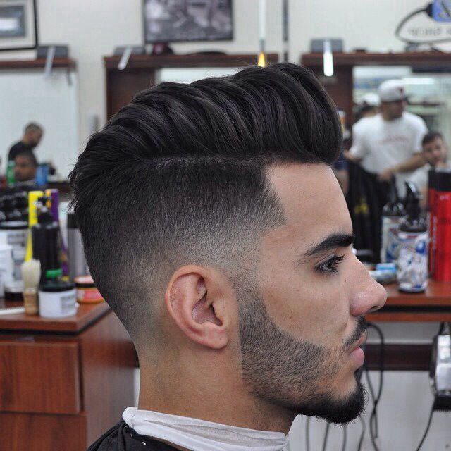 25 AMAZING MENS FADE HAIRSTYLES Ryan | Fade Hairstyles, Short Hairstyles Fade hairstyles are becoming extremely popular amongst men lately. The fade haircut is one that is usually accompanied on haircuts that are shorter in length, but we are now seeing longer hair on top with a fade come into men's hairstyle trends. Check out these barbershop fades we've gathered for you that feature short buzz cut fades to medium length hairstyle fades!  This is a classic low-mid RAZOR FADED POMPADOUR.