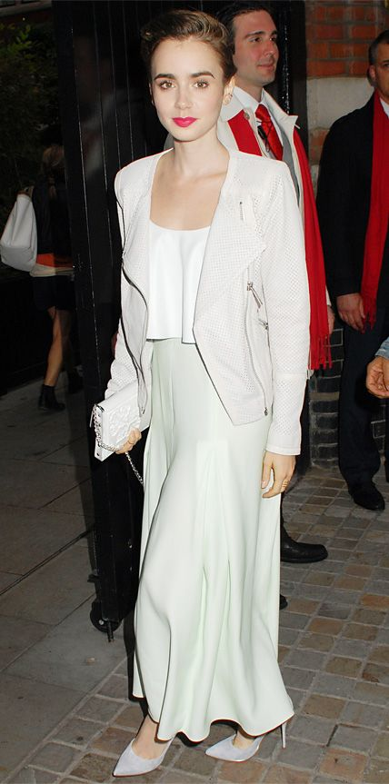 #InStyle Look of the Day - July 14, 2014 - Lily Collins in a stone gray python jacket, paired with a white ruffled crop top and seafoam-green Houghton maxi skirt, complete with a white clutch and gray Casadei pumps