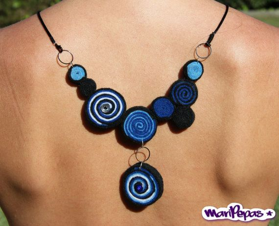Felt Statement Necklace Doble view Jewelry Color Blue by MariPepas, $58.00