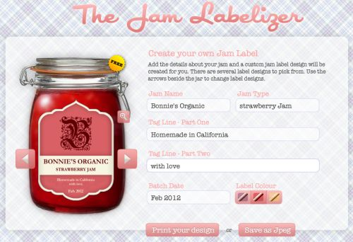 The Jam Labelizer. A free site where you can add your own information and print out a darn cute label!
