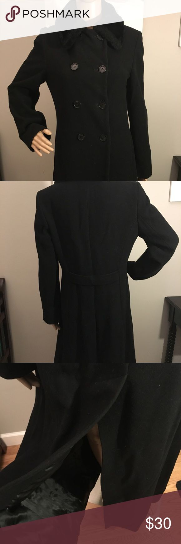 Vintage Benetton ankle length wool coat. Size XS Beautiful vintage Benetton ankle length wool coat. Faux fur collar.  Double breasted with a high back split.  There is a small hole on the left lower panel, pictured above. This coat is so warm and is a timeless classic.  Made in Italy.  Size XS United Colors Of Benetton Jackets & Coats