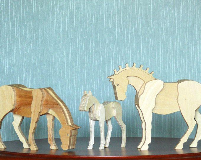 Conjunto de madera caballos madera yegua potro madera Hoss caballo de madera figura juguetes de madera figuras decoración madera contrachapada mare hoss potro estatua del caballo