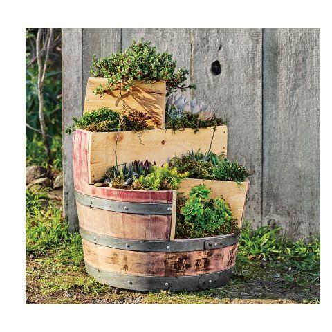 Recycled wine barrel planter outdoor entertaining for Diy wine barrel planter
