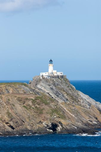 Muckle Flugga with lighthouse, Hermaness National Reserve, Unst island, Shetland islands, Scotland, UK