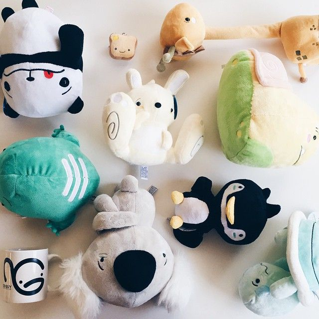 "Kawaii plush stuffed toys from Awkward Animal!!! Follow them on fb and instagram. They're made by the guys at Wong Fu Productions. ""Awkward flat lay...or nah? They just want to be hip too""  https://instagram.com/p/4VFPFtOdVy/"