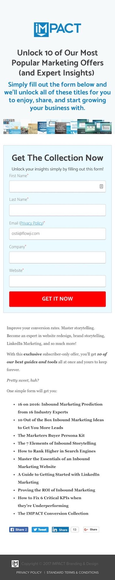 Case Study + Projects page for Our 10 Most Popular Marketing Offers for Free from Impact BND - Mobile Version