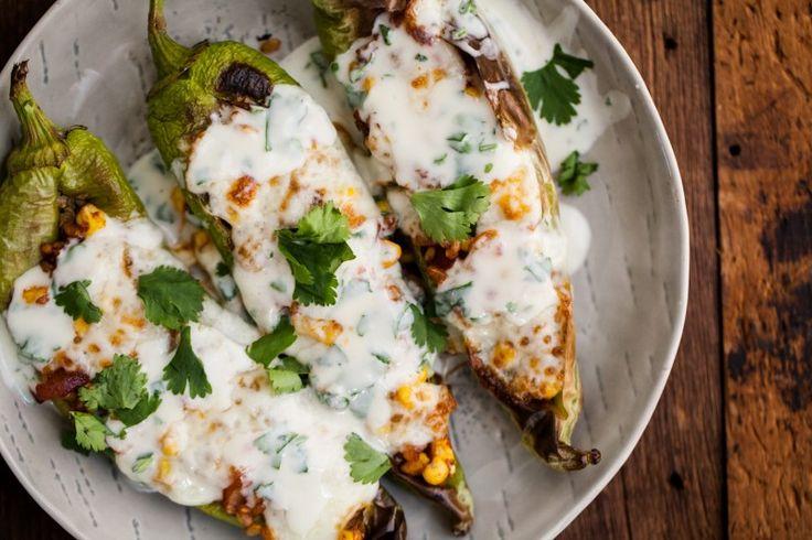 Stuffed Hatch Chiles with Cilantro-Lime Yogurt | Naturally Ella