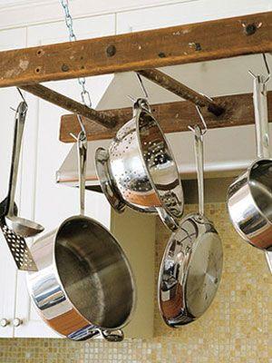 Repurposed ladder into a pot rack.: Kitchens, Pot Racks, Ideas, Wooden Ladder, Old Ladder, Ladder Pot, You, Potrack