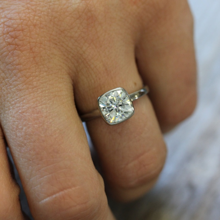 Perfectly simple and elegant, I love this.  Cushion Cut 8mm Moissanite Engagement Ring in 14k Palladium White Gold, Solitaire Cushion Cut Gemstone Ring