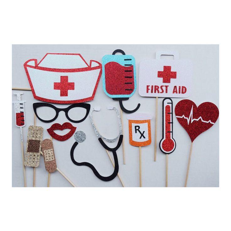 Nurse Photo Booth Prop Set ; Nursing School Graduation Decor by LetsGetDecorative on Etsy https://www.etsy.com/listing/473784319/nurse-photo-booth-prop-set-nursing