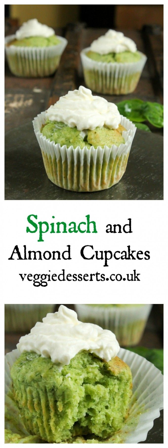 Spinach Almond Cupcakes | Veggie Desserts Blog  In these spinach and almond cupcakes, the flavour of spinach fades away beneath the almond. But it leaves a wonderfully green colour to the sponge!  veggiedesserts.co.uk