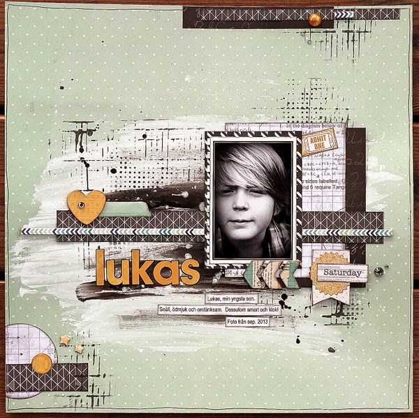 Love this mixed media layout that Ulrika Wandler created. Such awesome colors and layers. #BoBunny, #layouts @Ulrika Wandler