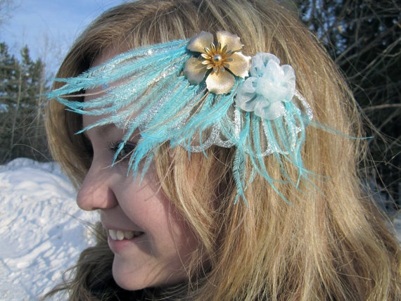 bloomer Fan Fascinator with Muted Teal Ostrich by SHOWYOURbloomers, $35.00