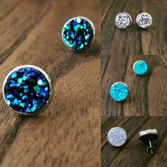 Check out this item in my Etsy shop https://www.etsy.com/au/listing/457119236/sparkly-faux-druzy-stud-earrings-made-of