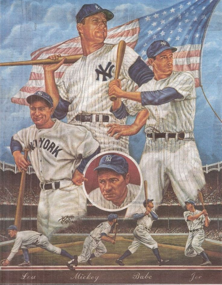 8.5x11 Art Drawing Babe Ruth Lou Gehrig Mickey Mantle Joe DiMaggio NY Yankees