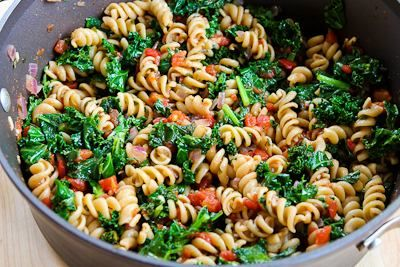 Kalyn's Kitchen®: Vegetarian Whole Wheat Pasta Recipe with Fried Kale, Tomato Sauce, and Goat Cheese
