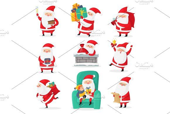 Cute Santa Christmas Santa Clauses In 2020 Happy Xmas Santa Claus New Year Gifts