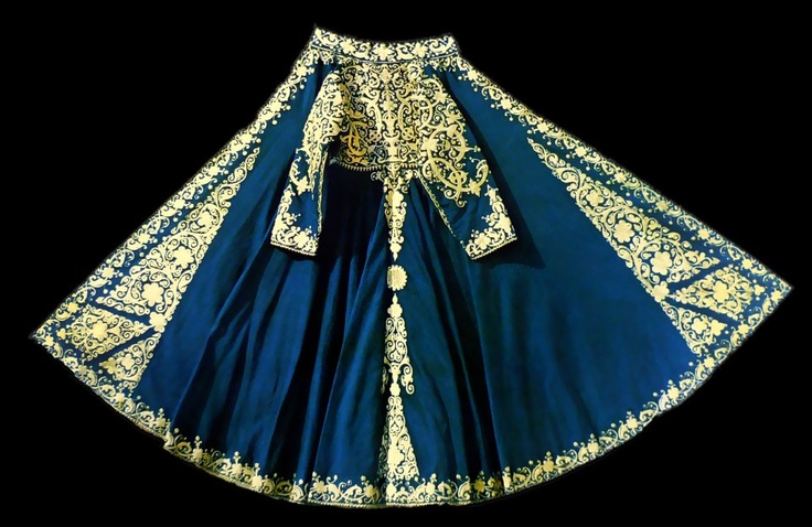 Albania, Southern, blue wool coat with white embroidery
