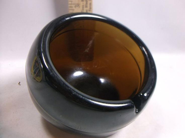 Vintage Viking Glass Orb Ashtray, Amber Color Highly  collected Ashtray.epsteam
