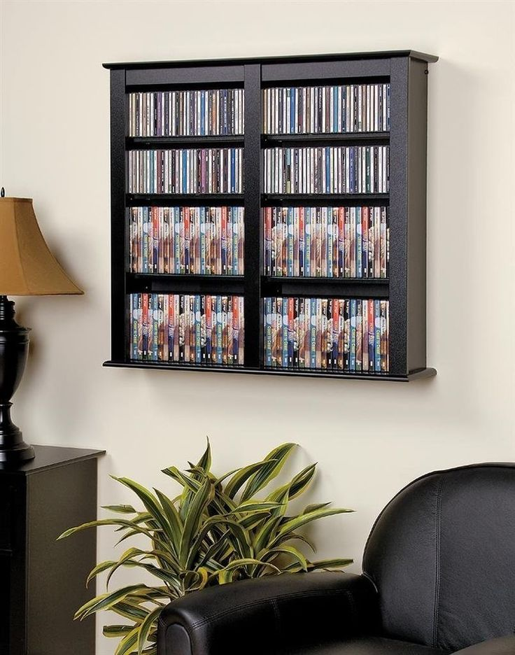 Floating Media Wall Rack Storage Cabinet DVD CD Video Games Organizer  Shelves