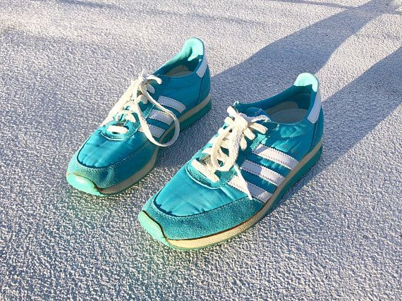 Vintage 80s Authentic Adidas Cloud Sneakers, 3 Stripe Brand