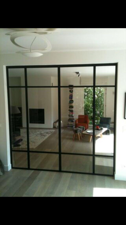 Stalen binnen pui double steel door at steel windows and doors pinterest - Trap binnen villa ...
