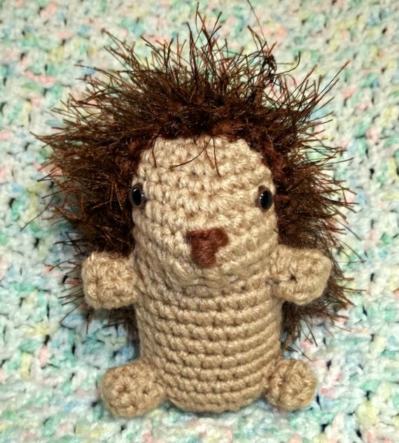 Plush Hedgehog  Crochet Animal  Plush Toy by ToyBoxflameOfsilver, $25.00