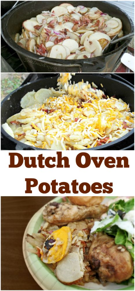 Dutch Oven Potatoes Recipe with Bacon! A favorite for summer, family dinner or Camp meals!