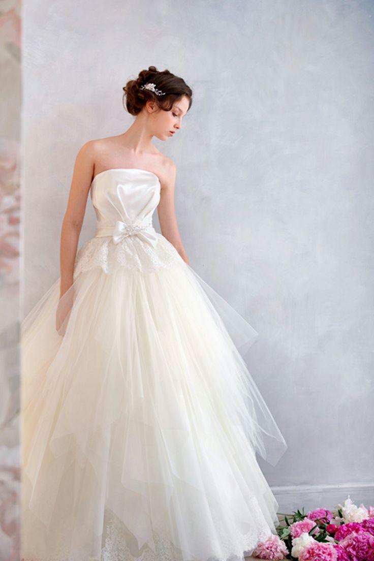 ウェディングドレス aライン ビスチェ リボン 二次会ドレス アイボリー チュール オーダードレス b14p2a036
