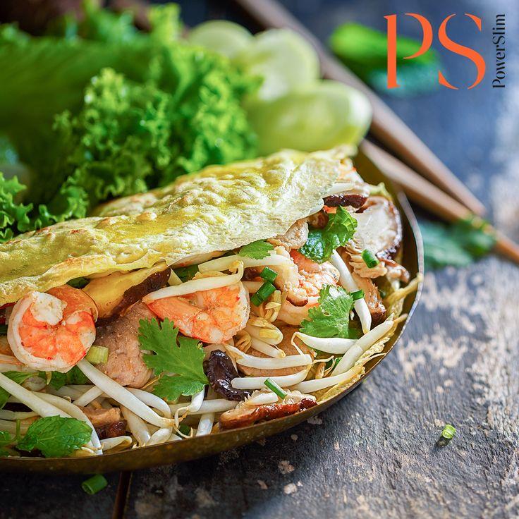 Banh Xeo van ei met pittige garnalen, kip en taugé | Koolhydraatarm recept | PowerSlim fase 1