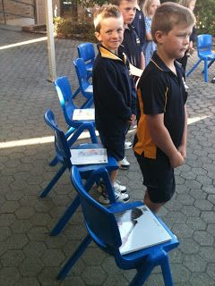 Musical chairs writing. Fun idea! When the music stops you pick up writing where the last person left off. Time intervals baed on grade level. this gets the kids creative and is a good way to share each other's writing