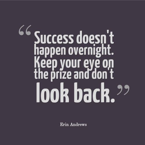 Success doesn't happen overnight. Keep your eye on the prize and don't look back. | Anonymous ART of Revolution