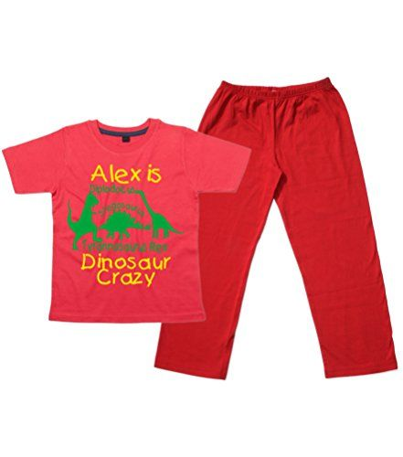 Children's Red T-Shirt & Red Long Pants Pyjama Set 'PERSONALISED DINOSAUR CRAZY' with Yellow & Green Print.