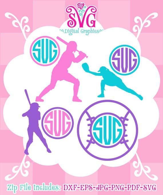 Softball SVG, Softball Player monogram, Softball SVG Files, Sport Cut File Design, Instant Download, 026-DG