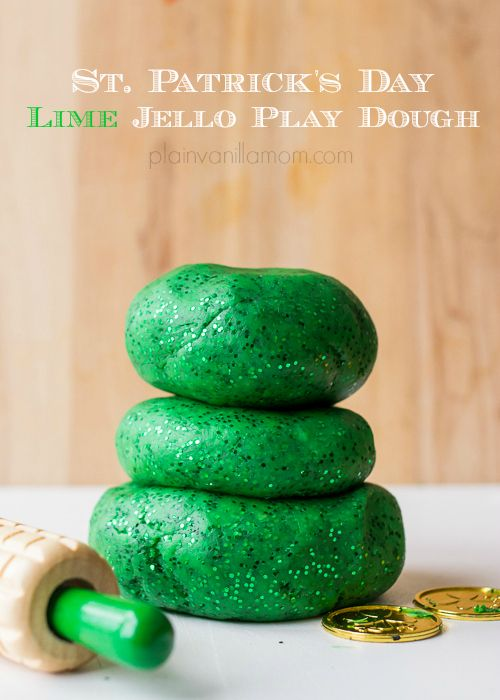Lime Jello Play Dough for St. Patrick's Day