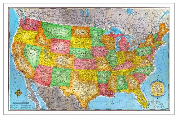USA Travel Map #2, US Map, Push Pin Map, Personalized Travel Map, Travel Gift, Vintage Map, United States Map, 24x36 Foam Board or Canvas