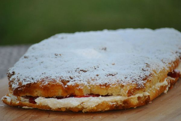 Have you ever had swedish flop?  It's a coffee cake with a crumble top, powdered sugar and cream filling.  If you're lucky, you can find it with a fruit layer added to the cream filling…