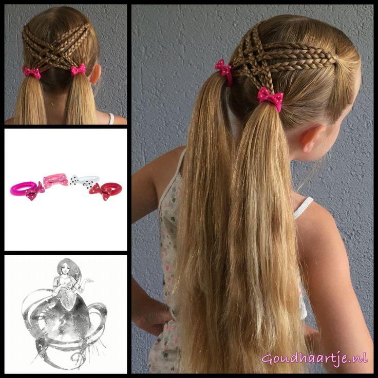 Cute hairstyle with little bows from the webshop www.goudhaartje.nl (worldwide shipping).   Hairstyle inspired by: @prettylittlebraids    #hair #hairstyle #hairstylesforgirls #pigtails #hairinspo #braidideas #vlecht #plait #trenza #peinando #braid #braids #longhair #beautifulhair #cute #sweet #lovely #littlegirl #hairaccessories #goudhaartje