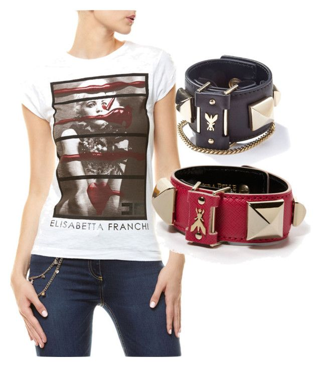 """""""Glamour Tee and Bracelets - Magenta Couture"""" by magentacouture ❤ liked on Polyvore featuring Elisabetta Franchi and Patrizia Pepe"""