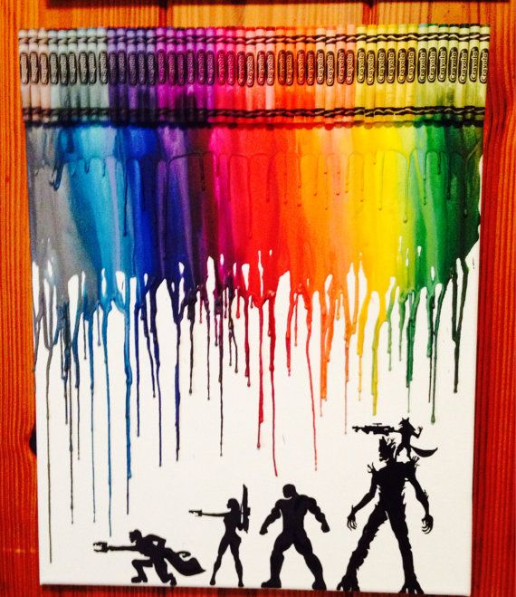 Guardians of the galaxy melted crayon art by OnceUponACrayon, $45.00