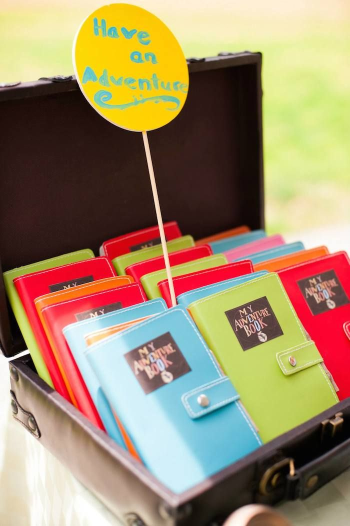 We love this creative idea! Hand out mini adventure books as favors so little guests can document their own adventures. | Disney's Up Themed Birthday Party | Photo: Jason Kvame of Elysium | Photography Rachel Nguyen via Kara's Party Ideas