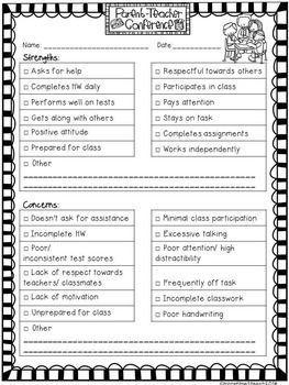 FREE {editable} Parent Teacher Conference Form