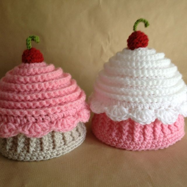 Crochet Hat cupcake | Crochet cupcake hats good enough to eat