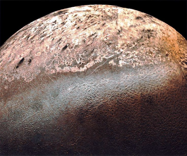 Triton's tortured surface, as seen by Voyager 2 in 1989. (Image credit: